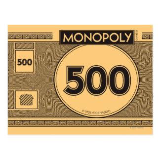 Monopoly | 500 Dollar Bill Postcard