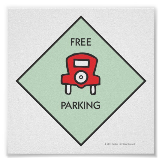 monopoly free parking corner square poster zazzle com