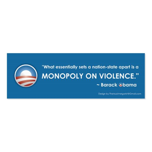 Monopoly on Violence Bookmark Business Card Templates