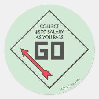 Monopoly | Pass Go Corner Square Classic Round Sticker