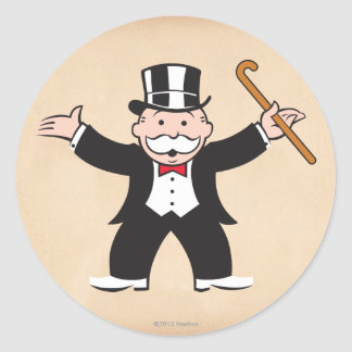 Monopoly | Uncle Pennybags With Cane Classic Round Sticker