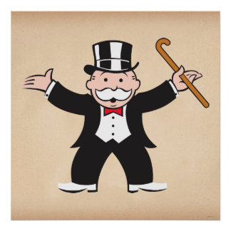 Monopoly | Uncle Pennybags With Cane Poster