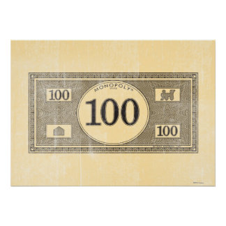 Monopoly | Vintage 100 Dollar Bill Poster