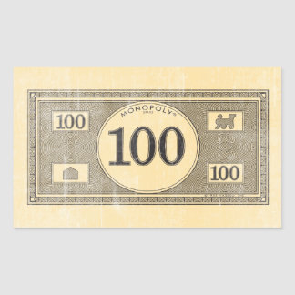Monopoly | Vintage 100 Dollar Bill Rectangular Sticker