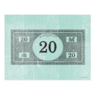 Monopoly | Vintage 20 Dollar Bill Postcard