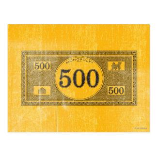 Monopoly | Vintage 500 Dollar Bill Postcard