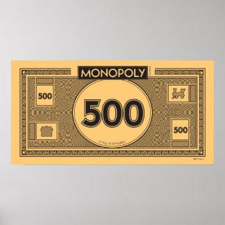 Monopoly | Vintage 500 Dollar Bill Poster