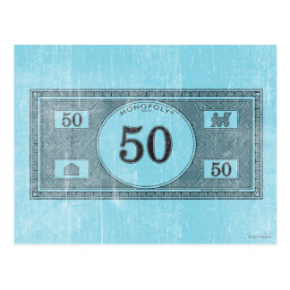 Monopoly | Vintage 50 Dollar Bill Postcard