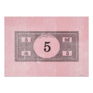 Monopoly | Vintage 5 Dollar Bill Poster
