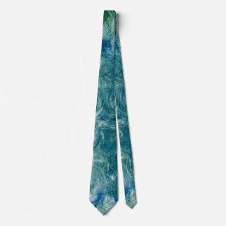 Monoprint abstracto verde y azul corbata personalizada