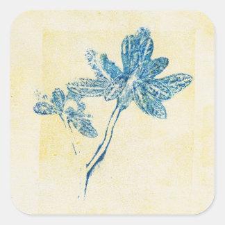 Monoprint Blue Leaf Plant Square Sticker