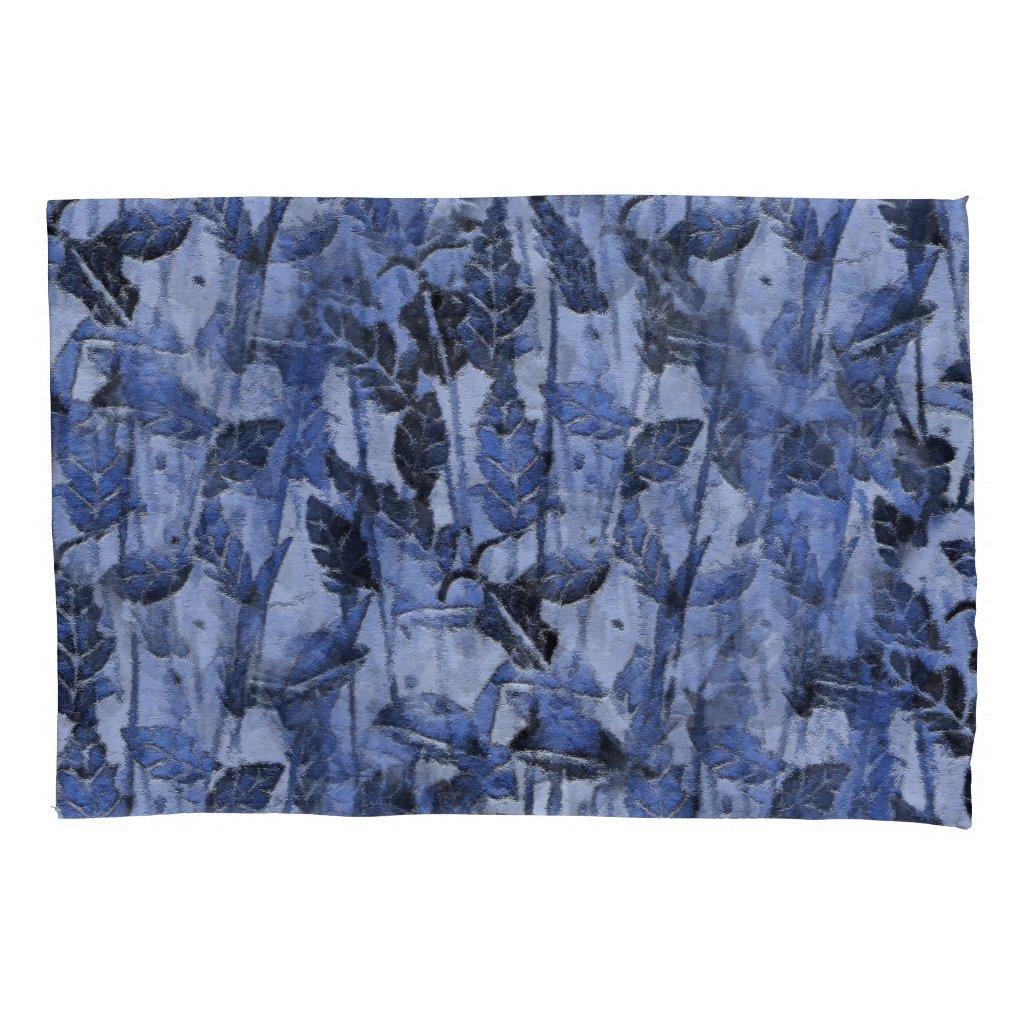 Monoprint Nature Design in Blue Pillowcase