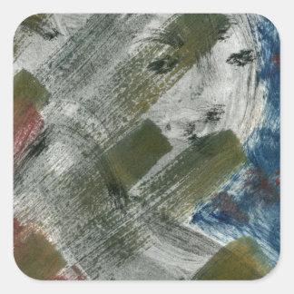 Monoprint Woman and Crow (Raven) Square Sticker