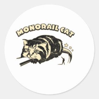 monorail cat round sticker