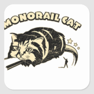 monorail cat square stickers