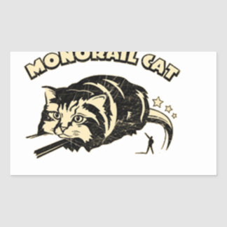 monorail cat rectangle stickers