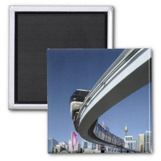 Monorail in Darling Harbor, Sydney, Australia 2 Inch Square Magnet