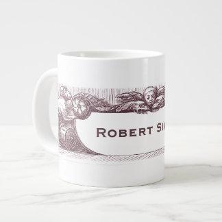 Monos antiguos elegantes que llevan a cabo su nomb taza de café grande