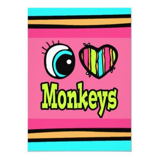 """Monos brillantes del amor del corazón I del ojo Invitación 4.5"""" X 6.25"""""""