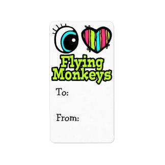 Monos brillantes del vuelo del amor del corazón I  Etiquetas De Dirección