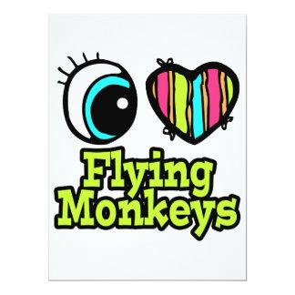 """Monos brillantes del vuelo del amor del corazón I Invitación 6.5"""" X 8.75"""""""