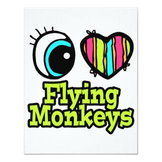 """Monos brillantes del vuelo del amor del corazón I Invitación 4.25"""" X 5.5"""""""