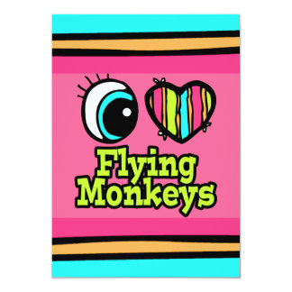 """Monos brillantes del vuelo del amor del corazón I Invitación 5"""" X 7"""""""