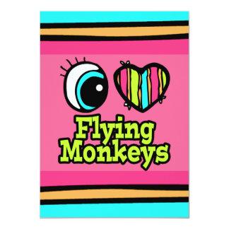"""Monos brillantes del vuelo del amor del corazón I Invitación 4.5"""" X 6.25"""""""