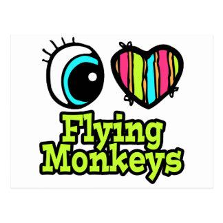 Monos brillantes del vuelo del amor del corazón I Postal