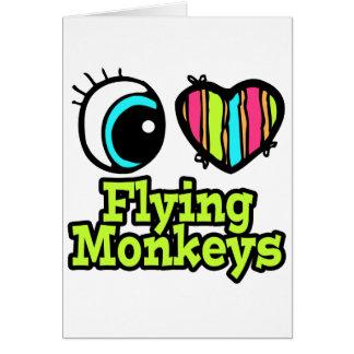 Monos brillantes del vuelo del amor del corazón I Tarjeta De Felicitación