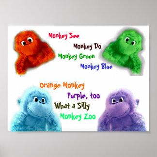 Monos coloridos posters