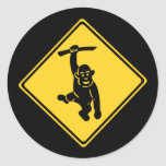 Monos de la precaución, señal de tráfico, Taiwán Etiqueta Redonda