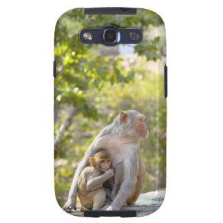 Monos de Macaque del macaco de la India de la madr Galaxy SIII Coberturas