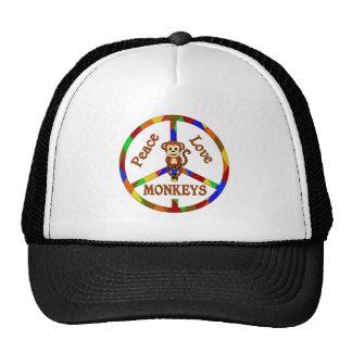 Monos del amor de la paz gorra