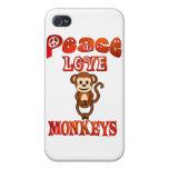 Monos del amor de la paz iPhone 4 coberturas
