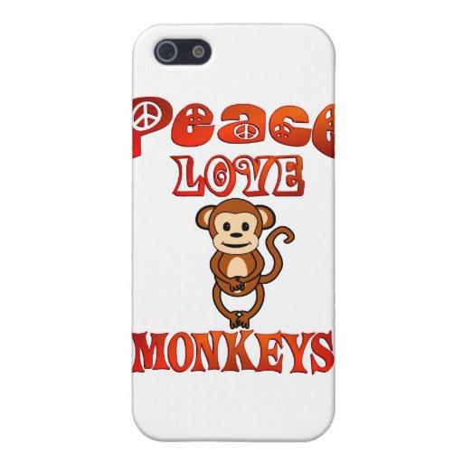 Monos del amor de la paz iPhone 5 cárcasas