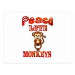 Monos del amor de la paz tarjeta postal