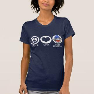 Monos del calcetín del amor de la paz camisetas