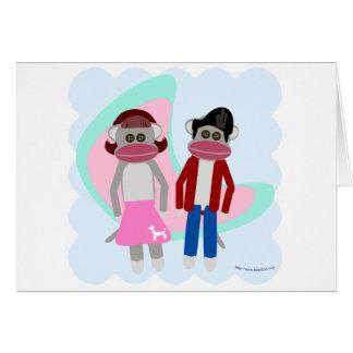 Monos del calcetín del salto del calcetín de los tarjeta de felicitación
