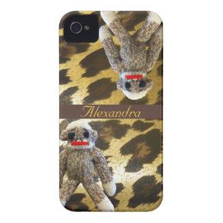 Monos del calcetín en la piel femenina del leopard Case-Mate iPhone 4 funda