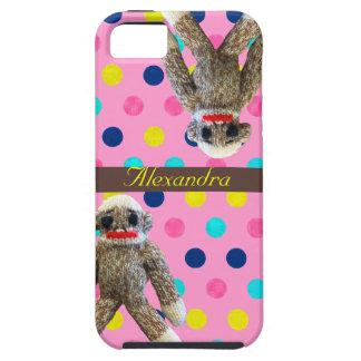 Monos del calcetín en lunares rosados femeninos iPhone 5 protectores
