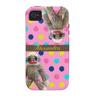 Monos del calcetín en lunares rosados femeninos vibe iPhone 4 carcasa