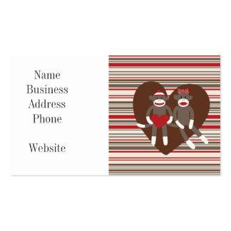 Monos del calcetín en regalos del corazón del el d plantilla de tarjeta de negocio