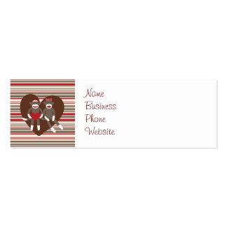 Monos del calcetín en regalos del corazón del el tarjetas de visita mini