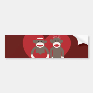 Monos del calcetín en regalos del el día de San Va Etiqueta De Parachoque