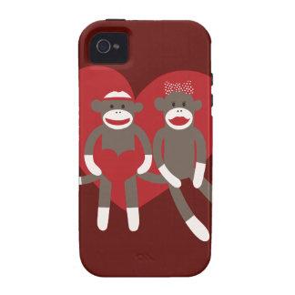 Monos del calcetín en regalos del el día de San Va iPhone 4 Funda