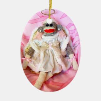 Monos del calcetín para el ornamento del óvalo del adorno navideño ovalado de cerámica