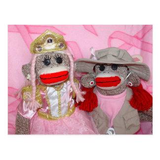 Monos del calcetín para la postal de los amigos de