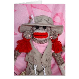 Monos del calcetín para la tarjeta de color caqui