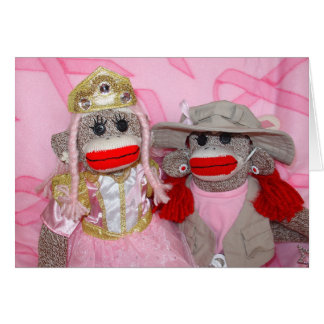 Monos del calcetín para la tarjeta de las novias d